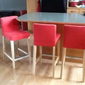 BAR STOOLS - SET OF 3: PLUS SET OF BRAND NEW REPLACEMENT COVERS