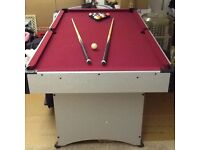 Pool table 6ft X 3 ft as new ideal Xmas present.with 2 cues & set of balls & ball return