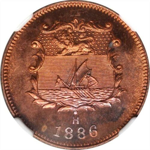 1886 H British North Borneo Specimen 1/2 Cent, NGC SP 65 RB KM 1 Superb Example
