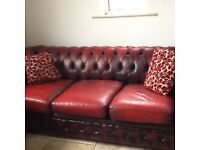 Red chesterfield settee (3 seater.)