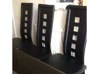 Black chrome and glass dining table and 5 chairs
