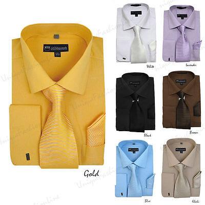 New Men's Spread Collar French Cuff Dress Shirt w/ Matching Tie, Handkerchief  Collar French Cuff Dress Shirt