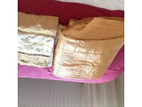 Bedding for double bed gold in colour,4 pillar cases Quilt cover and through