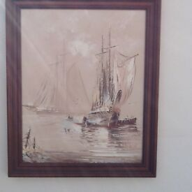 FRAMED OIL PAINTING OF SAILING BOATS by C ALEXIS