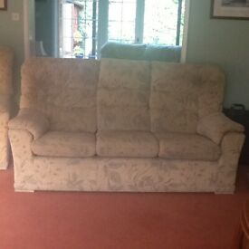 Used Three Piece Sofa consisting of 1 x 3 seater, 1 x 2 seater and recliner
