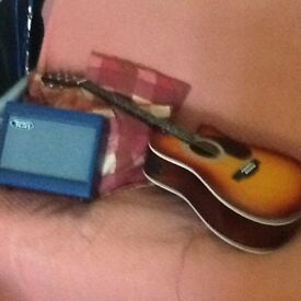 ENCORE ELECTRO ACOUSTIC GUITAR AND AMP