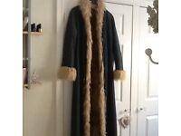 Denim coat with fur lining