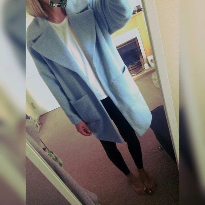 b862a16b6d5f MISSGUIDED blue coat UK8-10 or maybe 12