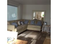 Right hand corner facing leather sofa set 9 ft 5 by 7 foot latte leather , cumfy no pets or smokers