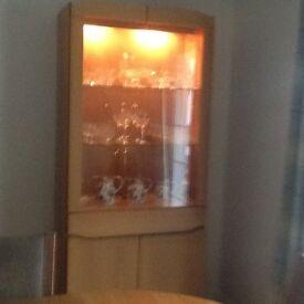 Skovby tall oak cabinet