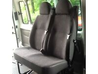 Minibus seats, 1 double, 2 single, with seatbelts and floor stalks also mounting bolts.