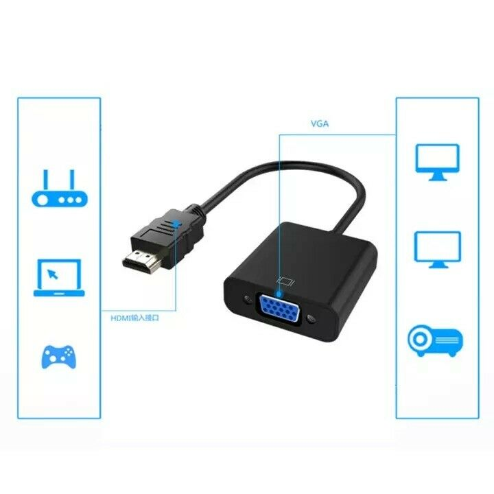 1080P HDMI Male to VGA Female Video Cable Cord Converter Ada