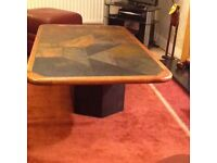 Slate coffee table in natural tones