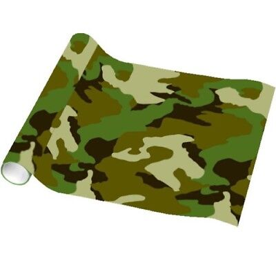 BOYS CAMOUFLAGE ARMY WRAPPING PAPER 1.5M KIDS BIRTHDAY PARTY GIFT PRESENT WRAP - Camouflage Wrapping Paper