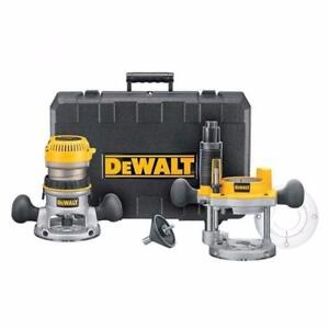 DEWALT DW618PKr Ensemble de toupie électronique à base fixe/course plongeante de 2 1/4 HP  à vitesse variable