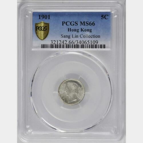 1901 Hong Kong 5 Cents, PCGS MS 66, Superb