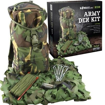 GIFT BOXED BOYS ARMY DEN KIT RUCKSACK NET CREAM PEGS PARACORD ROPE KIDS DPM CAMO (Kids Army Kit)