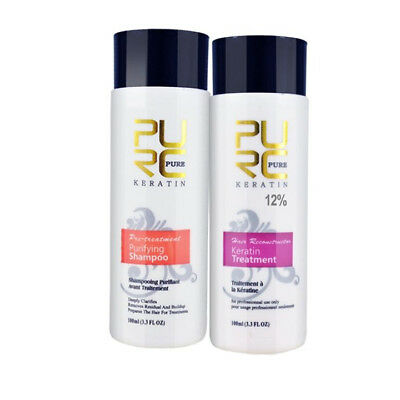 PURE Brazilian Keratin Treatment 12% Purifying Shampoo 2*100ml Make Damaged Hair