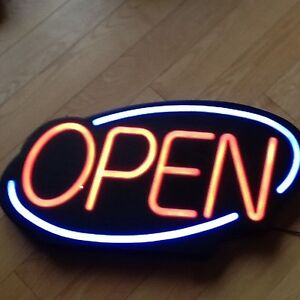 """OPEN"" Flashing On/Off Sign & Fast/Slow"