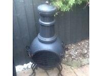 Black Metal Chiminea/ Wood Burner for Garden