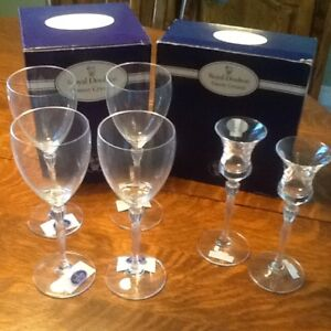 New Royal Doulton Oxford wine glasses and candle holders