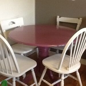 Purple dining table & mix match chairs