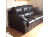 Leather 3 seater Sofa dark brown in good condition