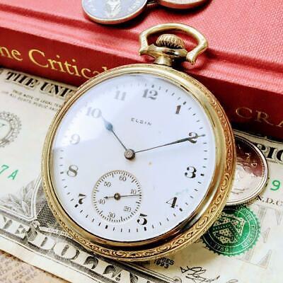 GENUINE ELGIN Men's Gold Pocket watch mechanical hand-wind 7Stone 12Size
