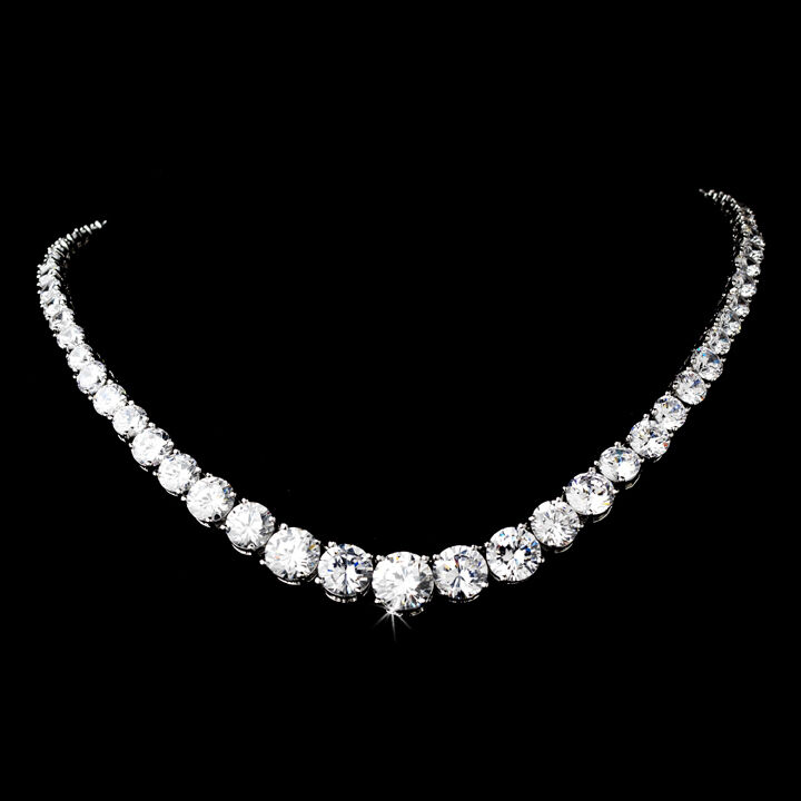 Wedding Bridal Antique Silver Cubic Zirconia Necklace Brides Jewelry