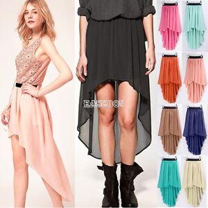 Asym-Hem-Chiffon-Skirt-High-Low-Asymmetrical-Long-Maxi-Dress-Elastic-Waist-EA