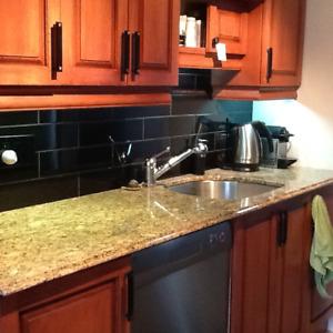 Comptoir de cuisine en granit, évier et robinetterie