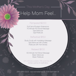 Mother's Day Spa Packages at Ashes Lashes & Aesthetics!