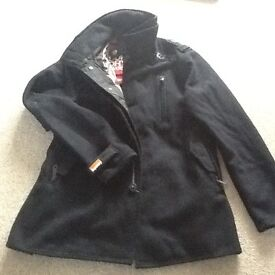 Mens black Superdry coat size xxl but more like xl new condition without tags