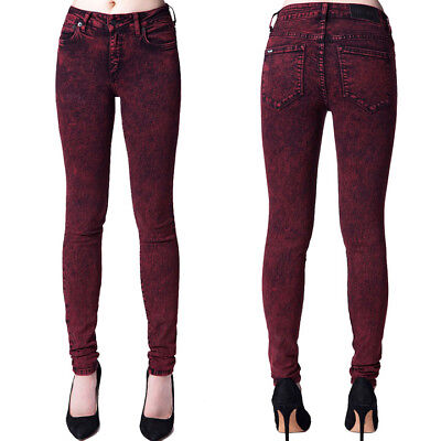 Kill City By Lip Service Junkie Fit Womens Stretch Skinny Jeans Red Black 25-31 Black Junkie Fit Jeans