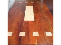 Large table, real wood with marble/granite inlay