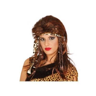 Höhlenfrau Lang Braune Perücke Damen Prähistorisch Halloween Kostüm