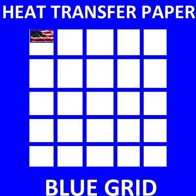 Dark Fabrics Iron On Inkjet Opaque Heat Transfer Paper -blue Grid-50sh 8.5x11