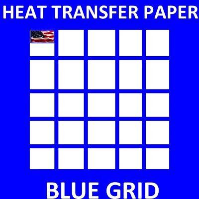 Iron On Inkjet Opaque Heat Transfer Paper For Dark Fabrics -blue Grid - 100 Sh A