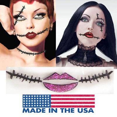 Sally Skellington Makeup (Sally Skellington Doll Corpse Dead Girl Zombie Easy Sticker Face Makeup)