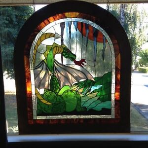 "REAL STAINED GLASS PIECE ""DRAGONS DEN"" 1 of kind!"