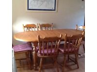 Pine extending dining table, 6 chairs, matching Welsh dresser