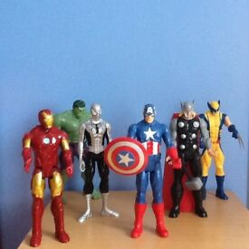 Large Marvel Figures Characters Captain America, Thor, Spider-Man, Hulk, Iron man, Wolverine