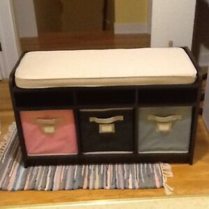 Storage bench with baskets moving sale