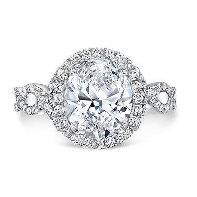 2.25 Ct Halo Oval Brilliant Cut Diamond Twist Shank Engagement Ring G,VS2 GIA 2