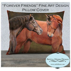 Forever Friends Artful Horse Design Pillow Cover