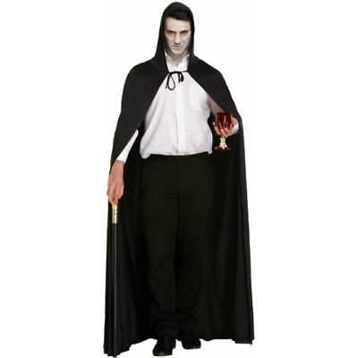 Long Hooded BLACK Cape Cloak Grim Reaper 170 cm Gothic Halloween Fancy Dress