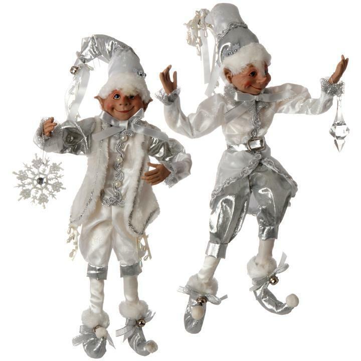 RAZ White & Silver Elves Set of 2 - Bendable & Posible 3702497 FREE SHIPPING