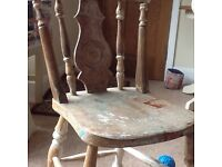Two VERY solid pine(?) wood chairs for stripping/restoration