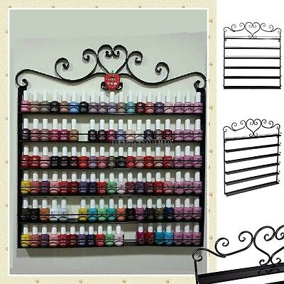6 Tier Metal Black Wire Metal Nail Polish Display Hanging Wall Rack Up To 108