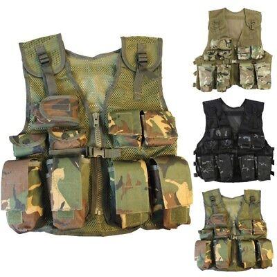 Kinder Armee Tarnmuster Assault Weste Jungen Mädchen Soldaten Kostüm SAS Schwarz